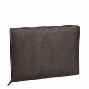 Baron Zip Folder Leather Tietokonekotelo Brown