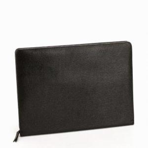 Baron Zip Folder Leather Tietokonekotelo Musta