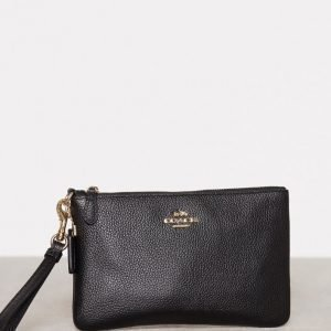 Coach Polished Pebble Small Wristlet Iltalaukku Musta