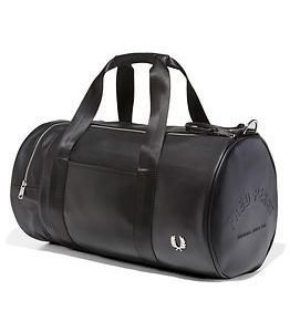 Fred Perry Texture Barrel Bag Black
