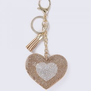 Gina Tricot Gold Crystal Heart Avaimenperä