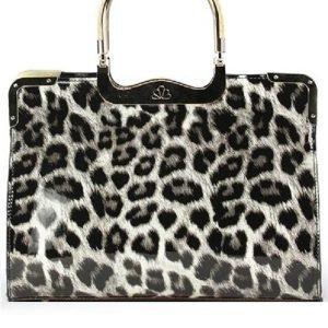 Harmaa leopardikuvioinen laukku