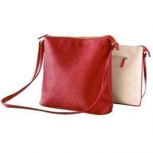 Käsilaukku Beige / Punainen