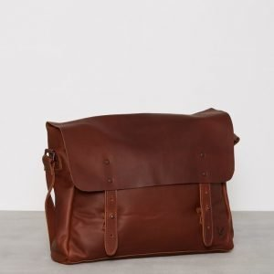 Lyle & Scott Leather Messenger Laukku Tan