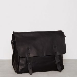 Lyle & Scott Leather Messenger Laukku True Musta