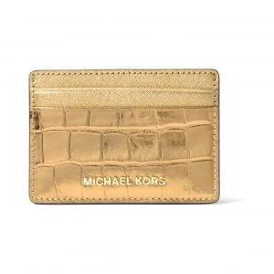 Michael Kors Jet Set Travel Metallic Embossed Leather Korttikotelo
