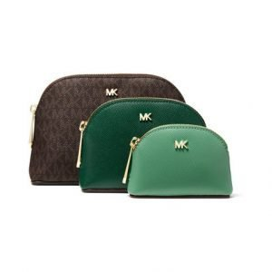 Michael Kors Leather And Logo Travel Pouch Trio Laukkusetti