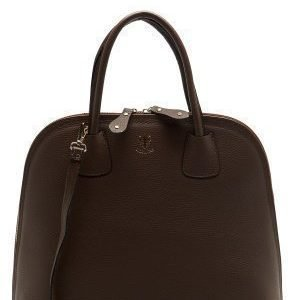 Mixed from Italy Top Handle Leather Bag Dark Brown