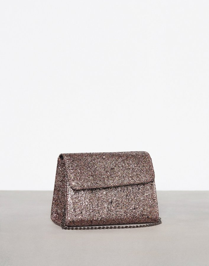 New Look Glitter Structured Chain Strap Bag Olkalaukku Gunmetal
