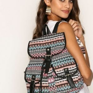 Nly Accessories Aztec Backpack Laukku Musta / Vaaleanpunainen