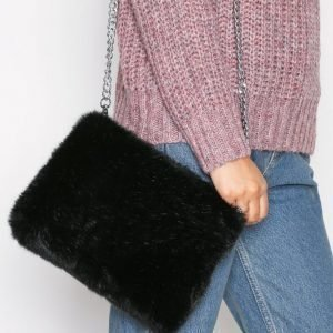 Nly Accessories Faux Fur Chain Bag Olkalaukku Musta