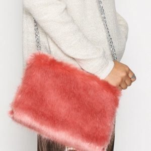 Nly Accessories Faux Fur Chain Bag Olkalaukku Vaaleanpunainen