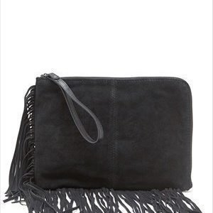 Pieces Nancy suede clutch Black