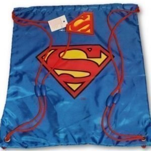 Superman stålmannen jumppapussi gymnastikpåse blå