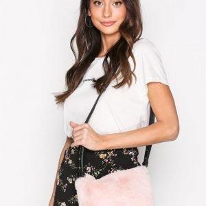 Topshop Faux Fur Cross Body Bag Olkalaukku Light Pink