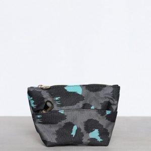 Topshop Mini Leopard Makeup Bag Toilettilaukku Grey