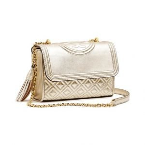 Tory Burch Fleming Metallic Small Convertible Nahkalaukku